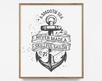 nautical quote, nautical quote print, nautical print, sailer print, sailer quote, smooth sea quote, smooth sea print, sail print, navy art