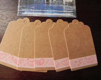 Valentine tags: 10 labels 7 x 4 cm decorated masking tape-hearts