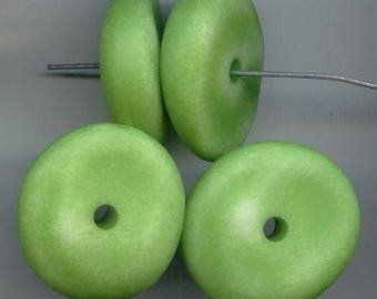 12 Vintage Green Matte Washed Acrylic 28x10mm. Nugget Disc Spacer Beads 5737