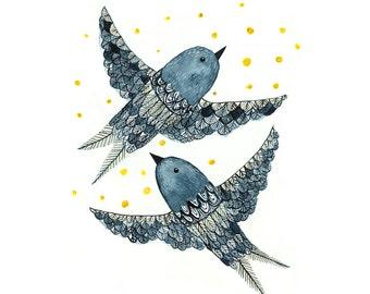 Indigo Birds - Archival Art Print