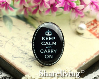 2pcs 30x40mm Handmade Photo Glass Cabs Cabochons (Keep Calm Carry On )  -- BCH417D