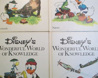 Vintage 1970's Disney's Wonderful World Of Knowledge Books 1 - 4
