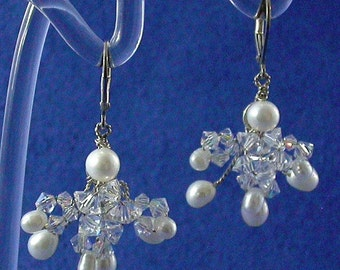 Freshwater Pearl and Swarovski Crystal Cluster Earrings, Vintage Inspired Pearl and Crystal Earrings, Pearl and Crystal Bridal Earrings