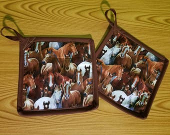 Horses Set of 2 Potholders