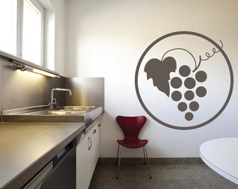 Grapes Vine Swirls Wall Quote Decal - Kitchen Decals - Restaurant Decoration - Vinyl Wall Decal  - KQ92