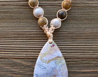 Micro-Macrame Necklace/Choker. Modern Macrame Necklace. Knotted Necklace.  Ocean Jasper Choker. Festival Fashion Jewelry. Boutique Fashion.