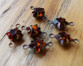 Smoky Topaz Vintage Swarovski Crystal Chocolate Brown Square 6x6mm Glass Brass Ox Connectors Two Loops 6 Pcs