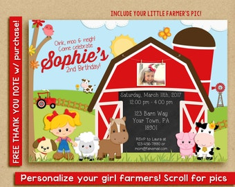 Girl Farm Birthday Invitation with picture, barnyard invitation