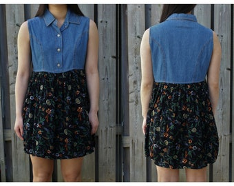Vintage 90s denim floral printed mini dress, 90s grunge style
