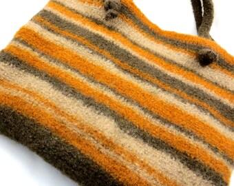 Bag, tote, purse, crochet, felted, orange, brown [PU13-9]