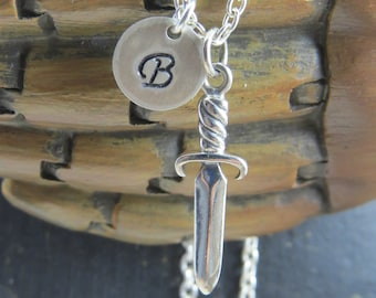 Sterling silver dagger necklace, personalized dagger necklace, knife necklace, dagger jewelry