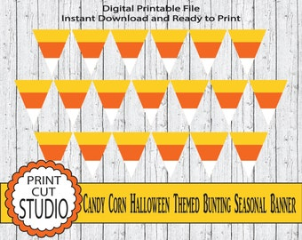 Candy Corn Halloween Seasonal Bunting Pennant Banner - INSTANT DOWNLOAD - Printable Digital File - Halloween Decorations - Candy Corn Banner