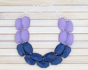 Artisan Jewelry - Gift for Her - Statement Necklace - Bridesmaids Gift - Chunky Layering Necklace - Navy & Lavender Color Block Necklace