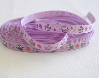 50 cm of Ribbon cupcakes cakes purple 10mm