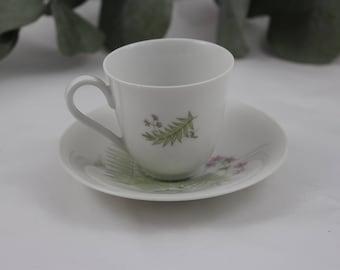 50s Vintage Teacup / Mocha / Coffee Cup / Porcelain / Botany / Wildflowers Flowers Losburg / Heinrich Selb