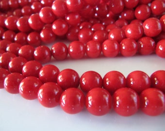 6mm Mashan Jade Beads in Red, Round, Smooth, 68 Pcs, Full Strand, Dyed, Dolomite Marble, Candy Jade, Mountain Jade