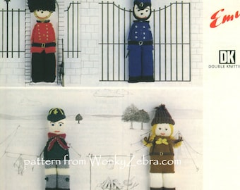 Knitted Knit Knitting DOLLS Pattern PDF 564 from WonkyZebra and ToyPatternLand