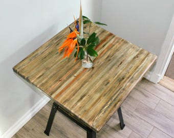 "Counter Height Reclaimed Wood Table - 24"" SQUARE"