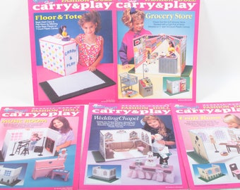 Carry & Play, Fashion Doll, Plastic Canvas, Grocery Store, Wedding, Music Room Illustrated, Children, Collection, Library, Vintage ~ 170623