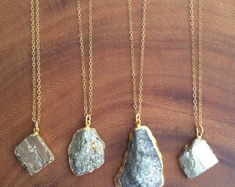 Pyrite Necklace // Pyrite Gold Necklace // Pyrite Pendant Nrcklace