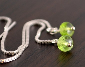 Peridot Earrings, Threaders, AAA Gemstones, Tweens, Sterling Silver, Wire Wrapped, Bright Lime Green, August Birthstone Jewelry