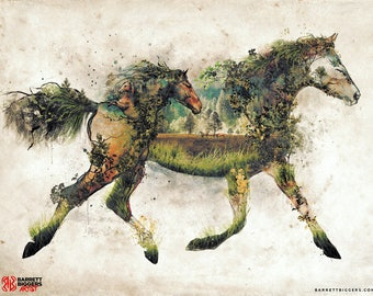 Wild Horse nature animal surrealism forest horses landscape digital art signed premium quality giclée print