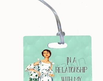 Luggage Tag, In a realtionship with my passport , bag tag, personalization on back, cute luggage tag, beach vacation, travel accessory