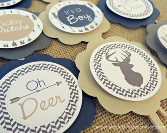 Baby Shower Decorations, Deer Cupcake Toppers, Deer Baby Shower, Customized