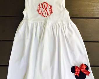 PERSONALIZED MOUSE DRESS- Monogram dress- mouse dress- red and black- girl mouse dress- mouse dress- mouse appliqué- character dining outfit