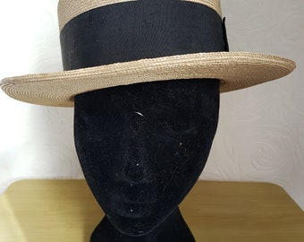 Men's vintage straw boater hat - Tress & Co, London