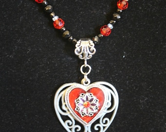 Red Double Heart Necklace