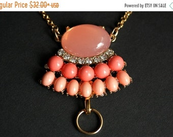 MOTHERS DAY SALE Jeweled Peach Lanyard. Rhinestone Badge Lanyard Necklace. Peach Coral Colored Lanyard. Art Nouveau Badge Holder. Gold Lanya