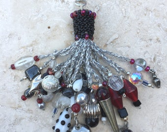 Tassel - Beaded - Light and Fan Ball Chain Pull - Black/White/Red/Silver/Crystal
