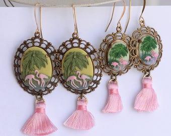 Rockabilly Pink Flamingo Earrings, Flamingo Tassel Earrings, Tropical Jewelry, Beach Cruise Earrings, Flamingo Lover Gift for her, SRAJD