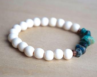 Boho Bracelet Ideas / yoga gift for mom, self care, meditation bracelets, sister gift bracelet, spiritual mom gift, chrysocolla, group 4
