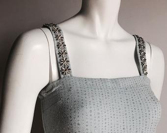 Jessica McClintock millennium 2000 8 Baby Blue Sparle Strass Dress Daisy Strap Clueless 90's