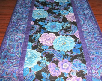 Floral Table Runner or Wall Hanging, Blue floral, handmade, quilted
