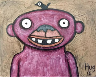 Purple Monkey With Birdie Acrylic Painting on Reclaimed Wood
