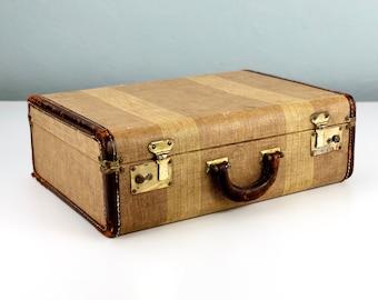 Vintage Smaller Striped Tweed Suitcase, Old Suit Case, Vintage Travel, Photo Prop, Vintage Luggage, Stage Props
