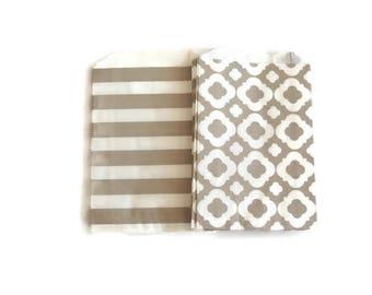 Light Gray Party Favor Bags, Light Gray Treat Bags, Gray Candy Bags, Popcorn Bags, Grey Treat Bags, Gray Sailor Stripe, Gray Quatrefoil