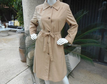 CLEARANCE Vintage 1970's Sears Beige Faux Suede Coat - Size 10