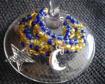 Hemp Wine Moon and Star Charms With Blue and Yellow Glass beads
