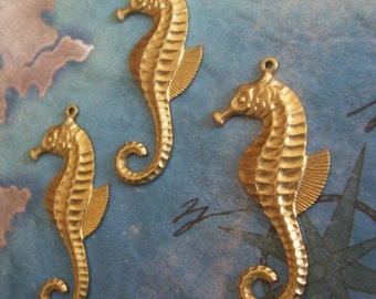 4 PC Raw Brass LG Sea Horse Jewelry Finding / Embellishment - 2 Left Facing / 2 Right Facing - H0170 / H0171