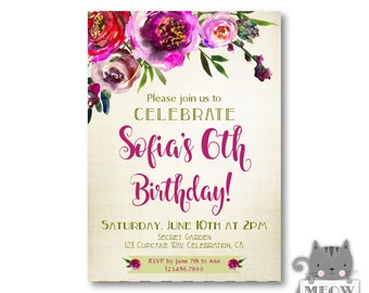 Girl's 6th Birthday Invitation, Watercolor Flowers, Floral Birthday Invitation, Floral Invite, , Any Age, 15th, 21st, 30th, 40th, 50th