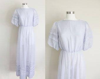 1980s Sheer Maxi Dress | Tea Dress | Puffed Shoulder | Garden Dress | Edwardian Style | Cornflower Blue | Dessy New York Creations | Medium