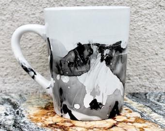 Black and White Mug, Hand Painted Mug, One Of A Kind