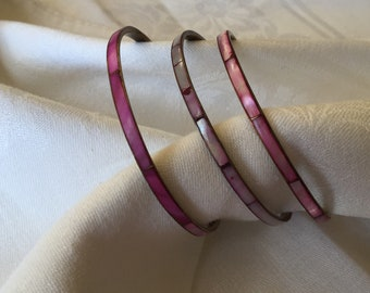 Three Pink Shell and Brass Bangle Bracelets, Vintage