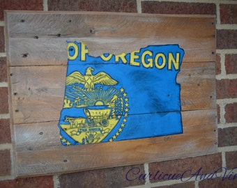 Oregon State Flag - Pallet Wood Sign-Pallet Board-Rustic Barnwood Decor-Man Cave-Flags-Shabby-Reclaimed Wood-Hand Painted