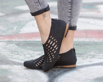 Leather Shoes, Leather Sandals, Leather Flats, Summer Shoes, Oxfords, Cutout, Black, Free Shipping