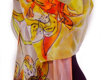 Hand painted silk scarf/Painting flowers on silk/Woman long silk scarf/hand painted floral scarf/Luxury yellow and orange floral scarf/0192